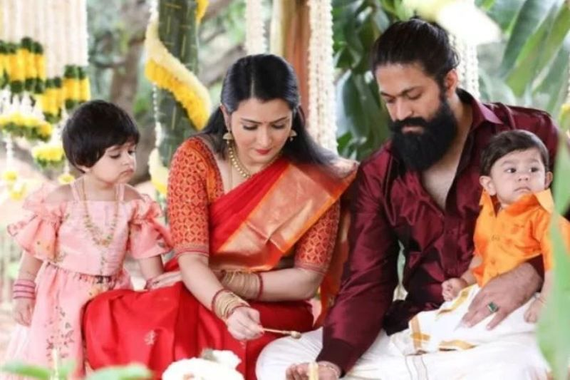 Yash, Radhika Pandit and their children Ayra and Ayush