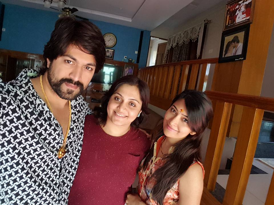 Yash with his sister and wife Radhika