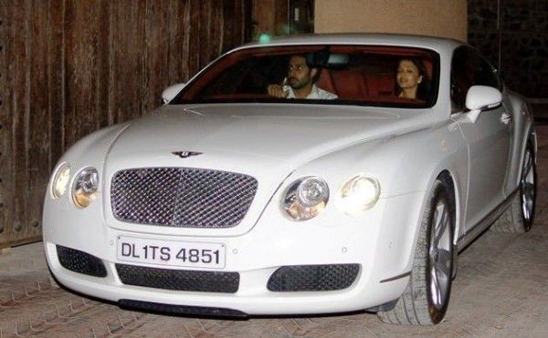Abhishek Bachchan inside his Bentley Continental GT