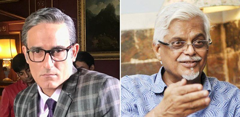 Akshaye Khanna (left) As Sanjaya Baru (right) In The Film The Accidental Prime Minister