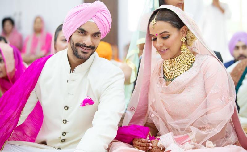 Angad Bedi with Neha Dhupia