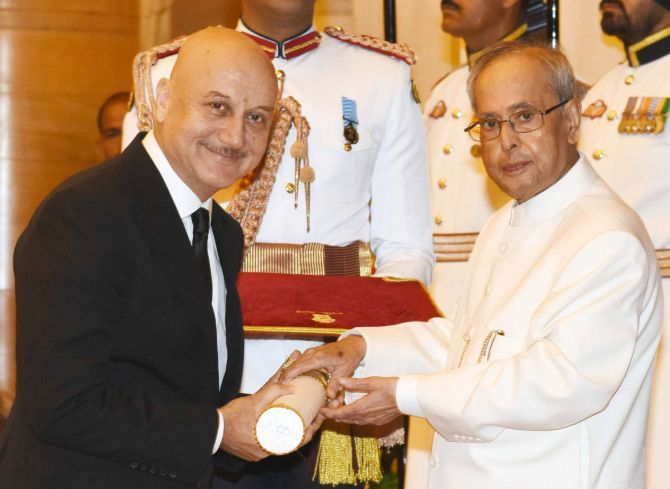 Anupam Kher Receiving Padma Bhushan Award