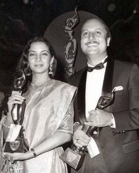 Anupam Kher With His Filmfare Best Actor Award for Saaransh