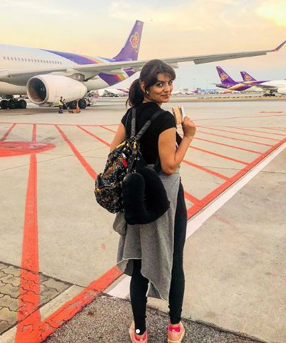 Anveshi Jain getting ready for travelling