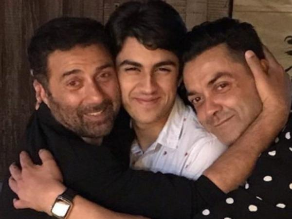 Aryaman With His Father, Bobby Deol (Extreme Right) And Uncle, Sunny Deol (Extreme Left)
