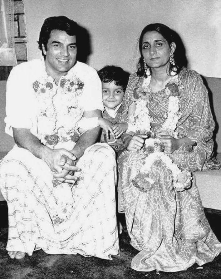 Dharmendra With His First Wife, Prakash Kaur And His Child, Bobby Deol