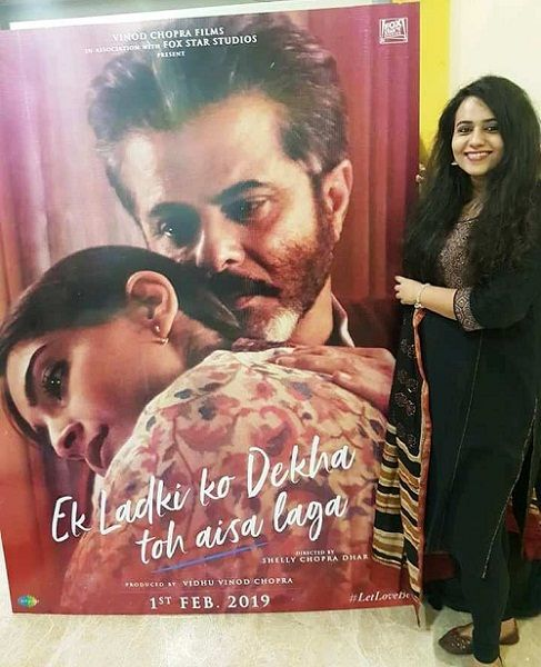 Gazal Dhaliwal poses with the 'Ek Ladki Ko Dekha Toh Aisa Laga' film's poster