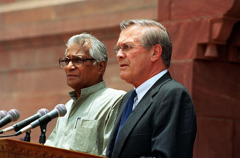 George Fernandes With US Defence Secretary, Donald Rumsfeld
