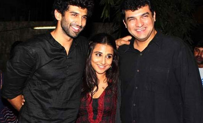 Vidya Balan with her brother-in-law, Aditya Roy Kapur (on left) and her husband, Siddharth Roy Kapur (on right)