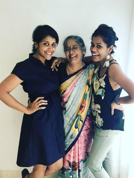 Manjiri With Her Mother And Elder Sister, Aditi
