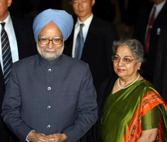 Gursharan Kaur with her husband Manmohan Singh