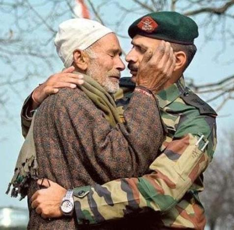 Nazir Wani's father being consoled by an army official