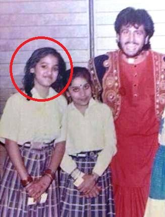 Neeti Mohan with Gurdas Maan in her school days