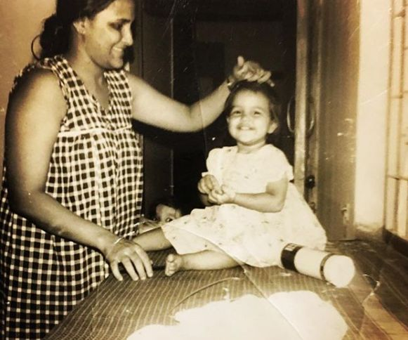 Neha Dhupia Childhood Picture With Her Mother