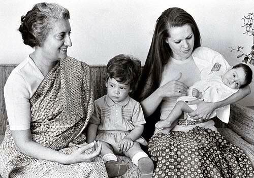 Priyanka Gandhi in the lap of her mother, Sonia Gandhi along side Rahul Gandhi and Indira Gandhi