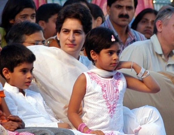 Priyanka Gandhi with her children