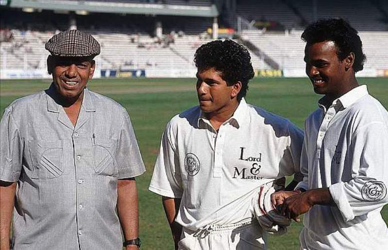 Ramakant Achrekar With Sachin Tendulkar And Vinod Kambli
