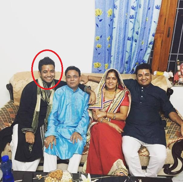 Roman Saini with his parents and brother