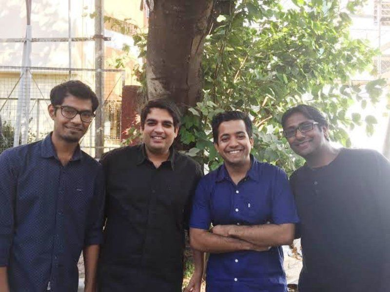 Roman Saini with the co-founders of Unacademy