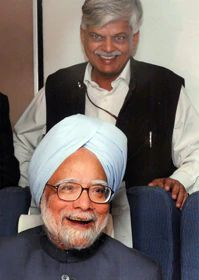 Sanjaya with Manmohan Singh in 2007