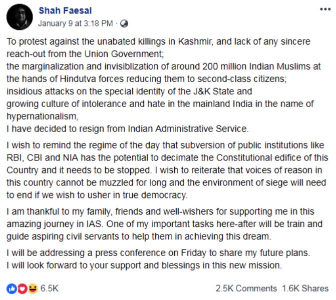 Shah Faesal's Facebook Post of His Resignation