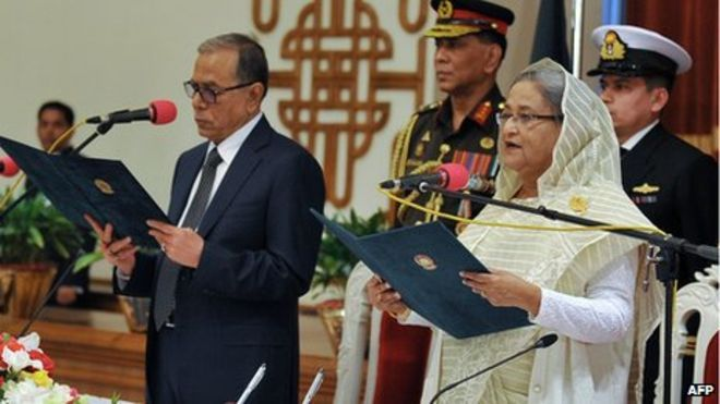 Sheikh Hasina taking the oath as Prime Minister of Bangladesh in 2014.