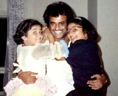 Soundarya Rajinikanth's childhood picture with her father Rajinikanth and sister Aishwarya R. Dhanush (Right)