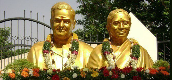 Statue of NTR And His Wife At Basavatarakam Indo American Cancer Hospital