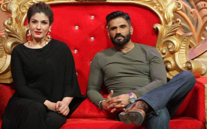 Suniel Shetty with Raveena Tondon