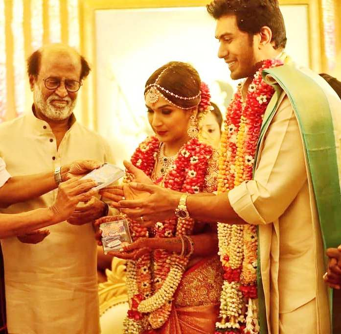 Soundarya Rajinikanth and Vishagan Vanangamudi wedding photo
