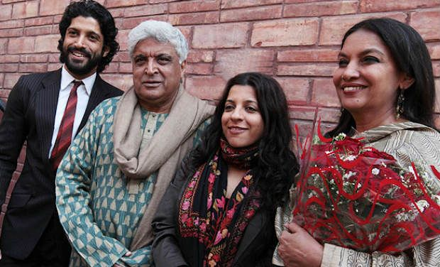 Zoya Akhtar with her father, brother and step mother