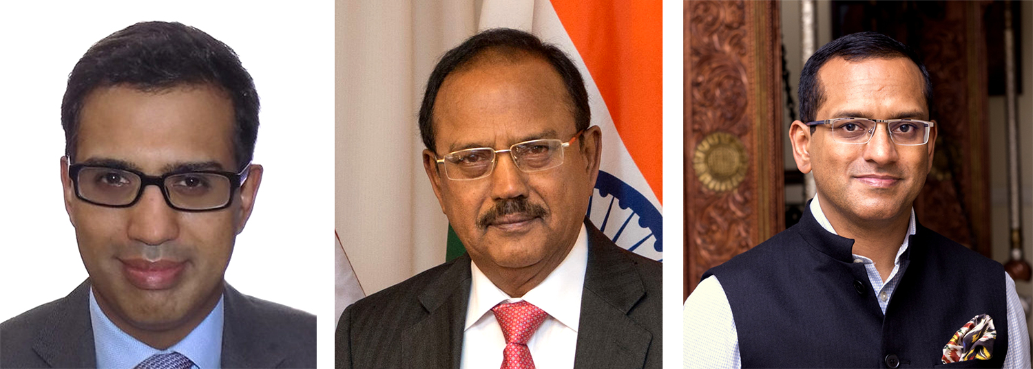 Ajit Doval and his sons, Vivek Doval (left) and Shaurya Doval (right)