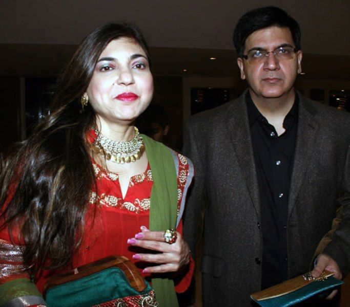 Alka Yagnik with her brother Samir