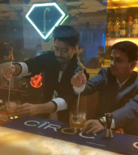 Aparshakti Khurana with a glass of alcohol