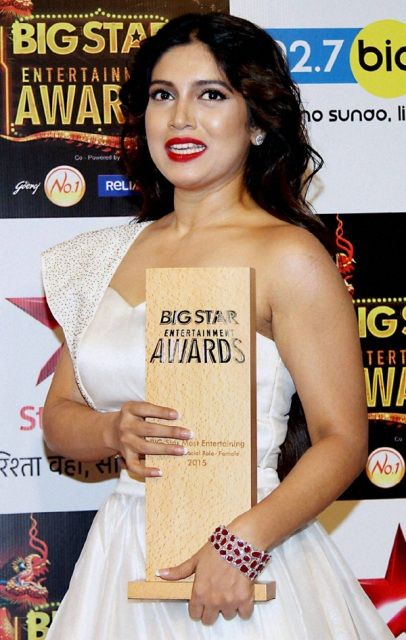 Bhumi Pednekar with an award