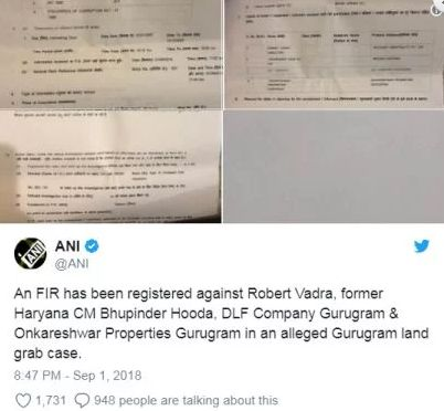 FIR against Robert Vadra