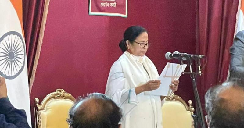 Mamata Banerjee being sworn in as the Chief Minister of West Bengal for the third time in a row