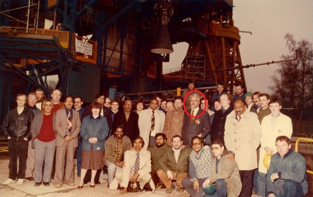 Nambi Narayanan Along With The Other Indian Team And French Scientists After Successful Ground Test Of Vikas Engine In Vernon, France In 1985