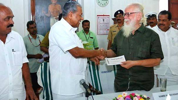 Nambi Narayanan Given Rs 50 Lakh Cheque By Chief Minister, Pinarayi Vijayan In 2018
