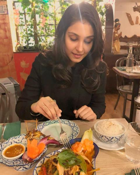 Navneet Kaur Dhillon having Thai food