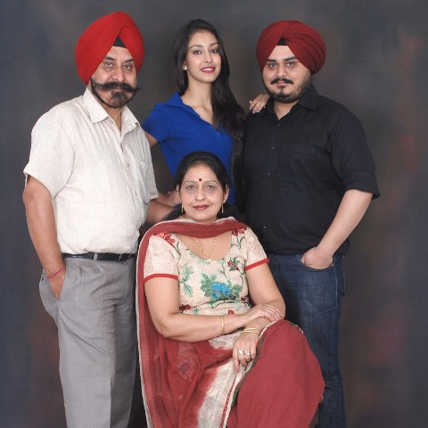 Navneet Kaur Dhillon with her family