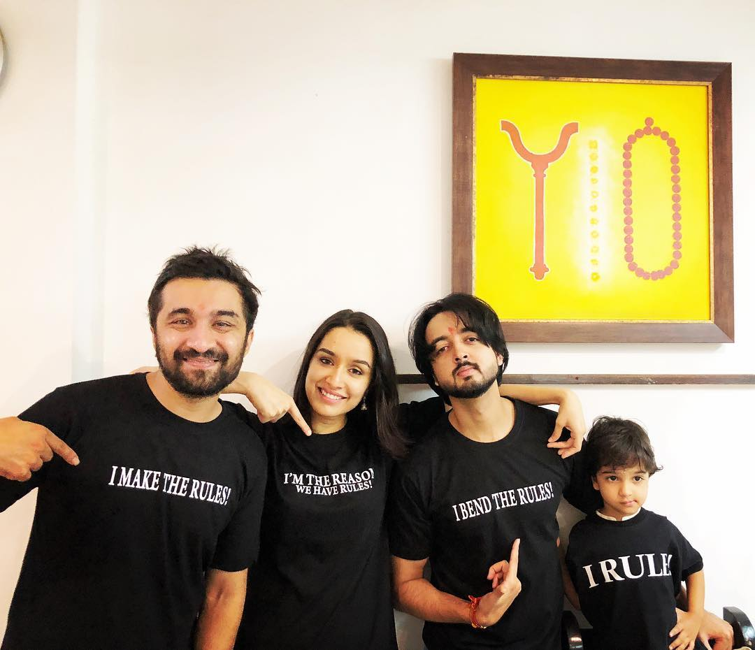 Priyank Sharma with Shraddha Kapoor and Siddhanth Kapoor