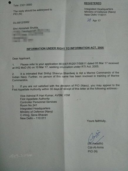 RTI response by the Indian Navy