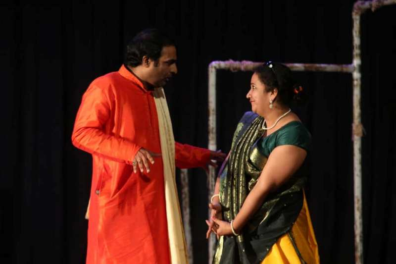 Rasika Agashe while performing a play on stage