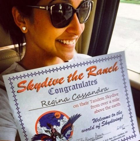 Regina Cassandra enjoys skydiving