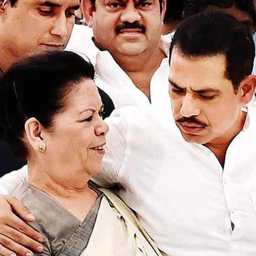 Robert Vadra with his mother