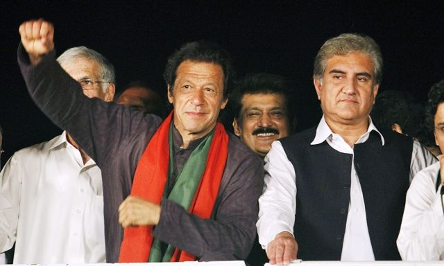Shah Mehmood Qureshi with Imran Khan