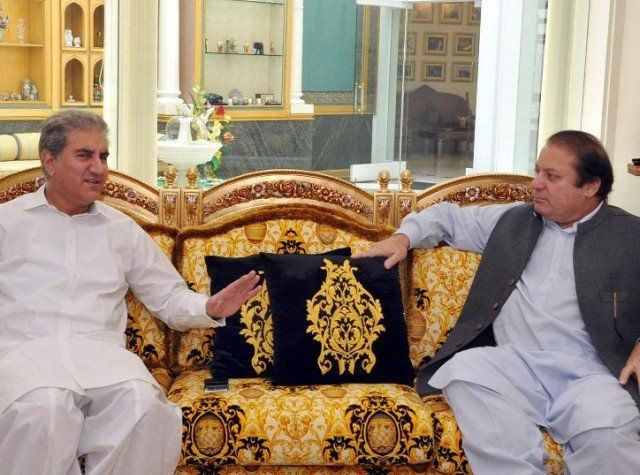 Shah Mehmood Qureshi with Nawaz Sharif