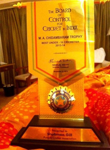 Shubman Gill received M.A. Chidambaram Trophy