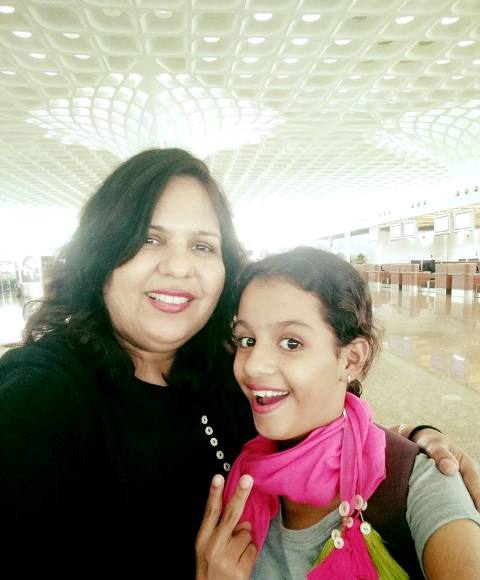Syna Anand with her mother